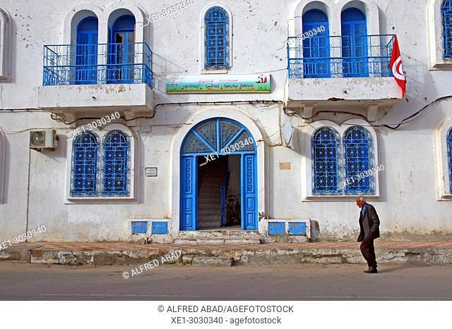 street and public school, Houmt Souk, Djerba, Tunisia