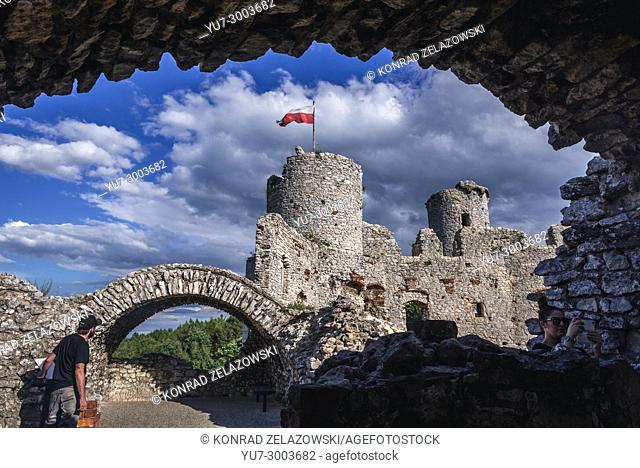 Inside the Ogrodzieniec Castle in Podzamcze village, part of the Eagles Nests castle system in Silesian Voivodeship of southern Poland