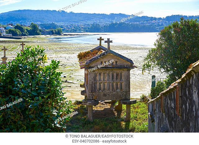 Horreo in Combarro Galician village of Pontevedra at Galicia Spain