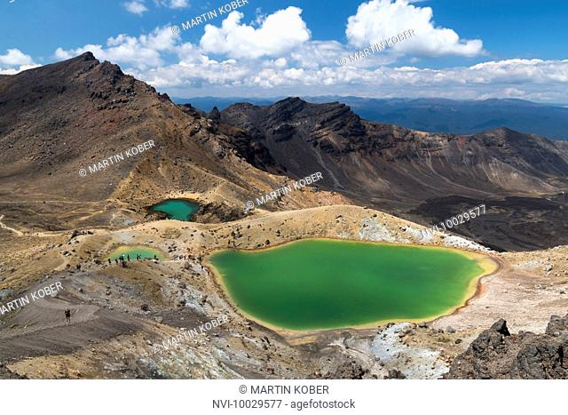 View to the beautiful Emerald Lakes on top of the Tongariro Alpine Crossing, Tongariro National Park, North Island, New Zealand