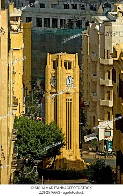 High angle view of Down Town Beirut Place De Etoile clock tower