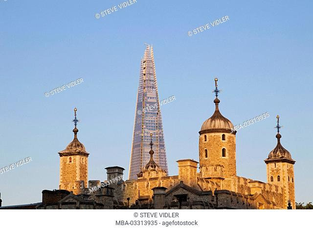 England, London, Tower of London and The Shard