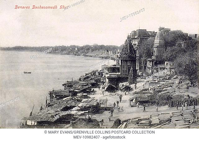 India - Benares - Dashashwamedh Ghat - the main ghat in Varanasi on the Ganges River. It is located close to Vishwanath Temple
