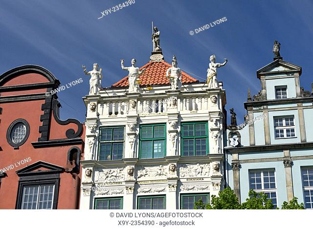 Gdansk Poland. Dutch Mannerist style of the façade of the Court of Artus on main shopping street of Dlugi Targ dates from 1617