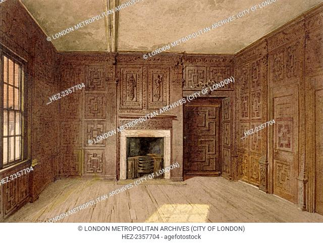 Interior view of the Compton Oak Room, Canonbury House, Islington, London, 1887. The panelling of this room and the Spencer Room at Canonbury House was...