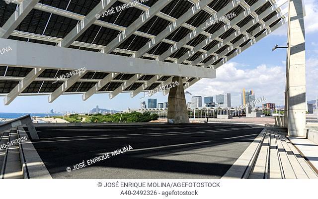 Photovoltaic panel in the Forum park. Barcelona. Catalunya. Spain