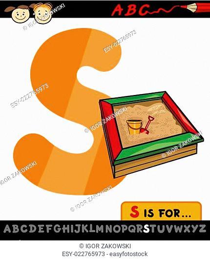 letter s with sandbox cartoon illustration
