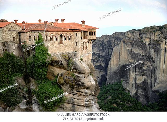 Greek orthodox monastery of Varlaam. Greece, Central Greece, Thessaly, Meteora monasteries complex, listed as World Heritage by UNESCO