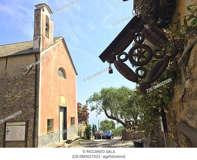 Italy, Liguria, Colla Micheri, Old Village, Church. . .
