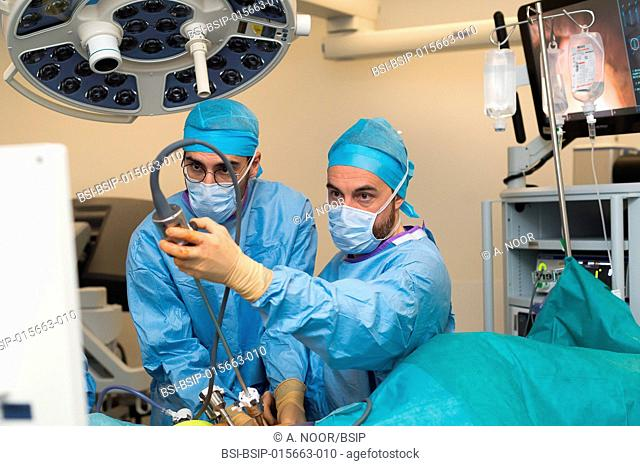 Reportage on a kidney transplant in the urology service of Nice Hospital, France. The kidney is taken from a living related donor, the recipient's wife