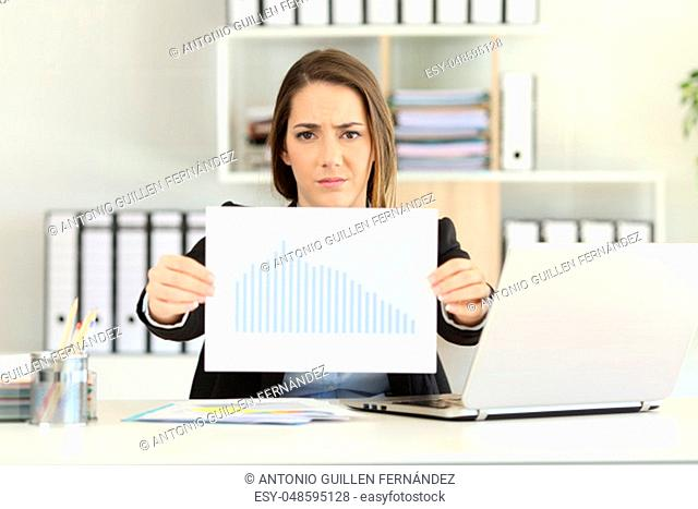 Front view of a worried executive showing a bad sales results chart at office