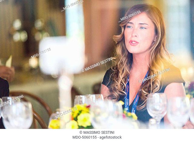 The Minister of Constitutional Reforms and Relations with Parliament of the Italian Republic Maria Elena Boschi at the Forum Ambrosetti in Villa d'Este