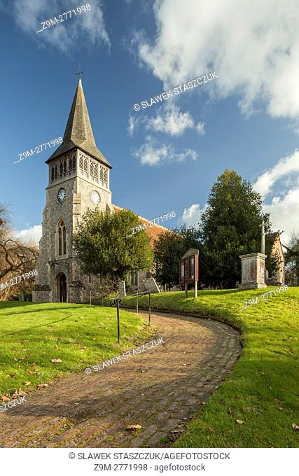 Autumn afternoon at the parish church in Wickham, Hampshire, England