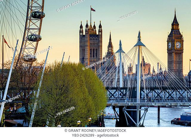 Big Ben, The Houses of Parliament and The London Eye, London, England