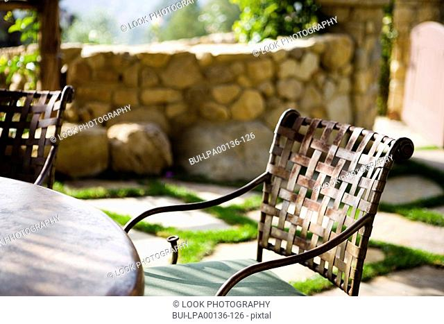 Cast iron patio chair and table