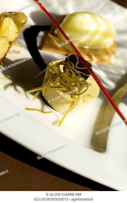 Close-up of gourmet tarts