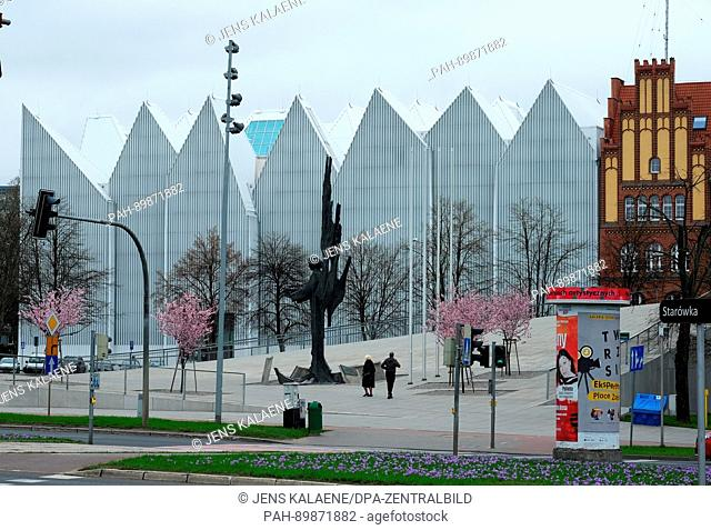 The façade of the Szczecin Philharmonie in Szczecin, Poland, 08 April 2017. The obliquely rising square - the Solidarnosc Square - is at the same time the roof...
