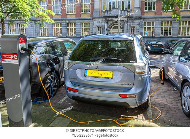 amsterdam, Holland, The Netherlands, Parked, Electric Cars, Batteries Being Charged on Street Parking lot