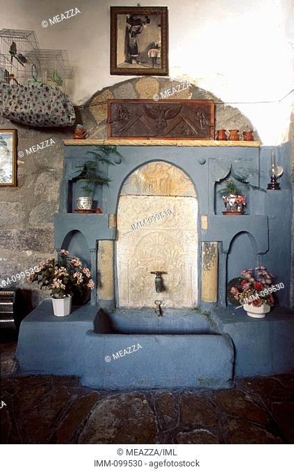 Dodecanese, Patmos Hora, Simantiri Mansion waterfountain, traditional house