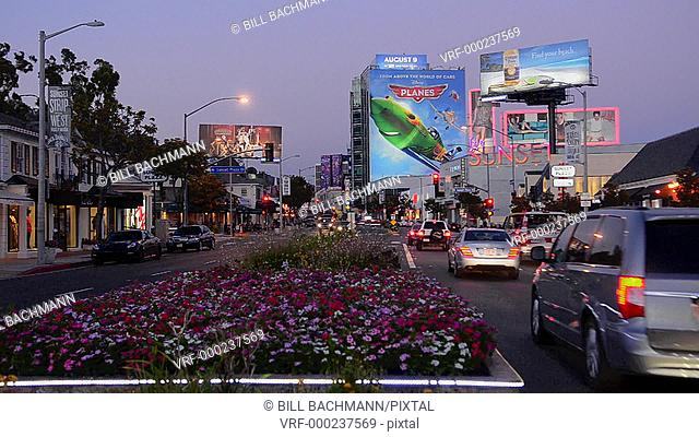 Hollywood Beverly Hills California CA famous Sunset Blvd traffic at night exposure moving cars