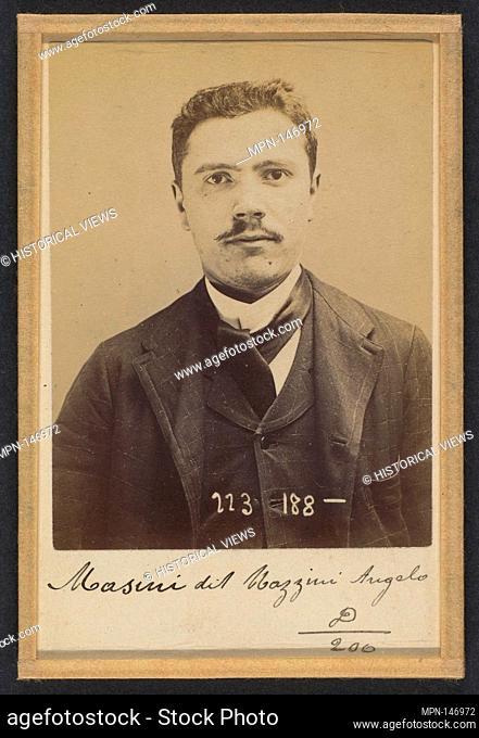 Masini (dit Mazzini). Angelo, Henri. 25 ans, né le 4/9/69 à Milan (Italie). Ébéniste. Anarchiste. 1/9/94. Artist: Alphonse Bertillon (French