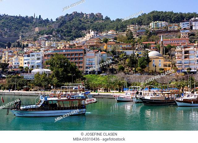 Turkey, Alanya, south coast, town, harbour, excursion boats