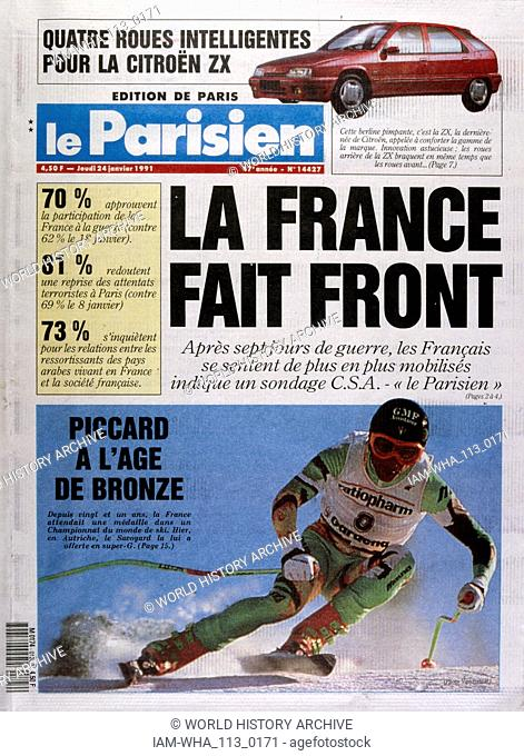 Headline in 'Le Parisien' a French newspaper, 24th January 1991, concerning increased public support French involvement in the Gulf War (2 August 1990 - 28...
