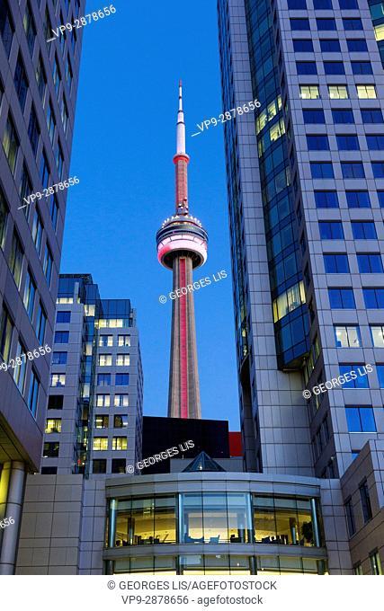 CN Tower among buildings night