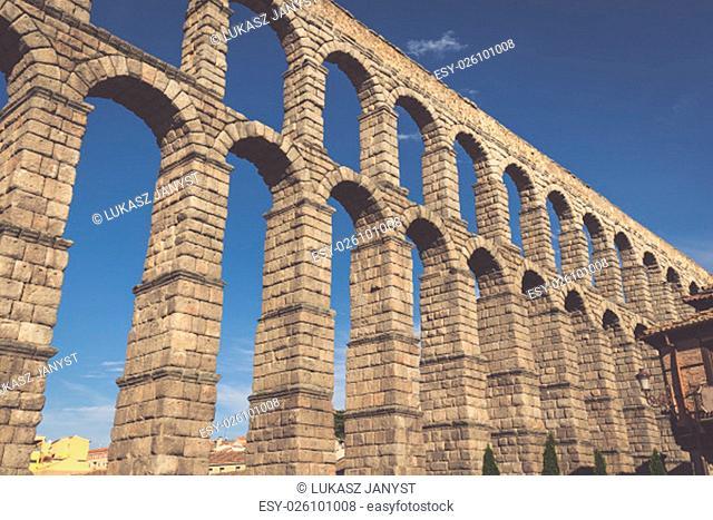 the famous ancient aqueduct in segovia,castilla y leon,spain