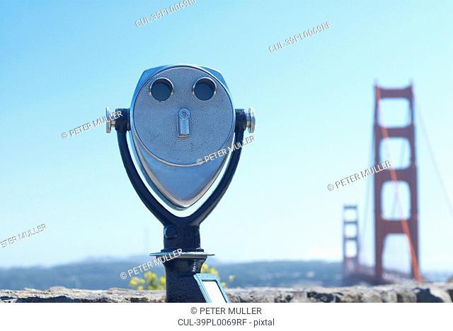 Telescope overlooking Golden Gate Bridge