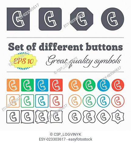 handset icon sign. Big set of colorful, diverse, high-quality buttons. Vector