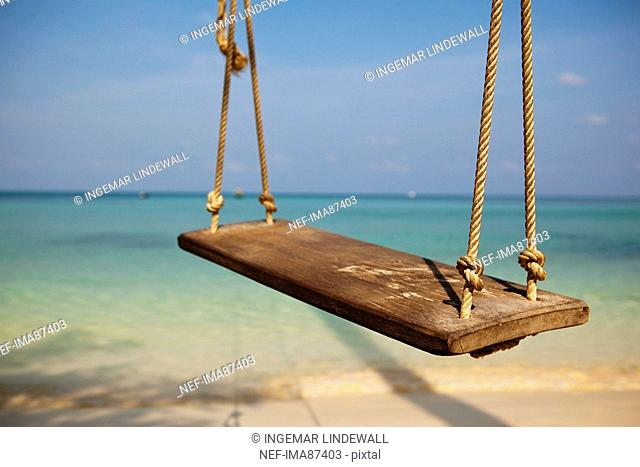 Rope swing on beach
