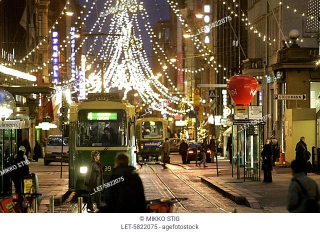 Aleksi shopping street decorated with Christmas lights in Helsinki, Finland