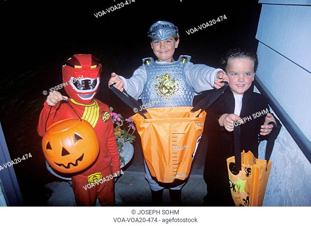 Children trick or treating on Halloween, Ojai, California
