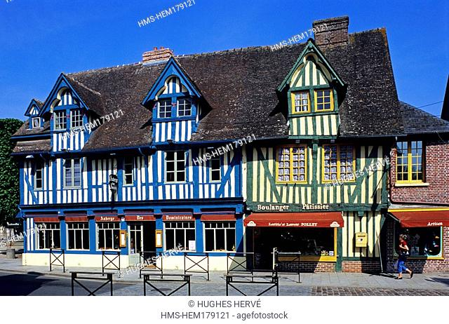 France, Calvados, Pays d' Auge, Pont l' Eveque, half timbered facade in Saint Michel street