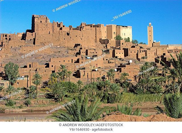 Kasbah fortified mudbrick village of Tiffoultoute near Ouarzazate Morocco