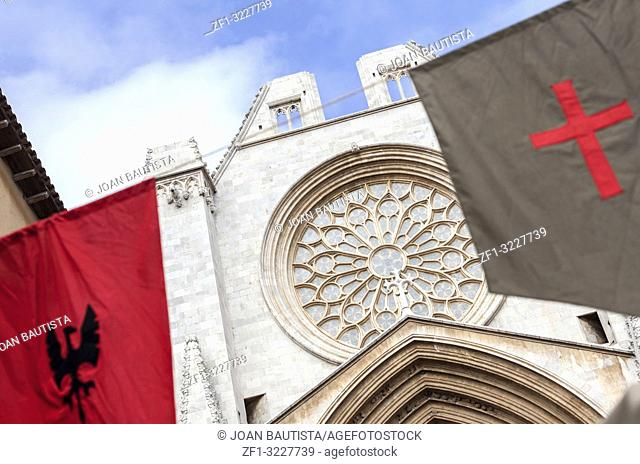 Catedral, rose window and medieval flags, Tarragona, Catalonia, Spain