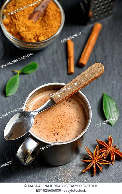 Cup of hot chocolate, cinnamon sticks and Coconut palm sugar