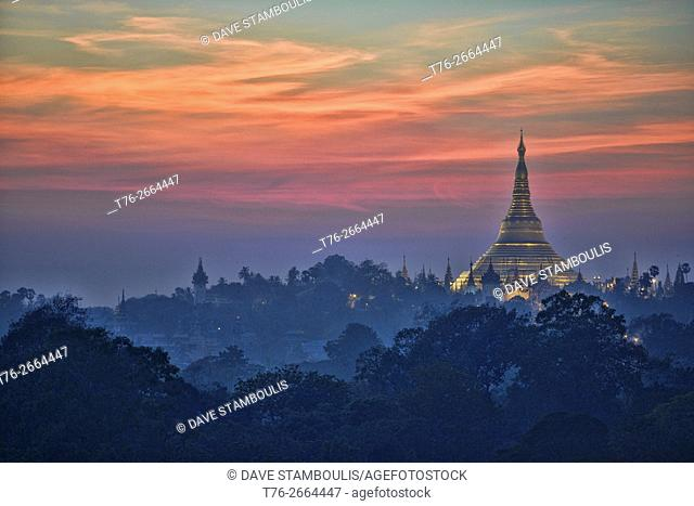 Golden Shwedagon Pagoda at sunset, Yangon, Myanmar