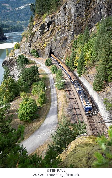 The Rocky Mountaineer travels along the Fraser River near Yale, BC, Canada