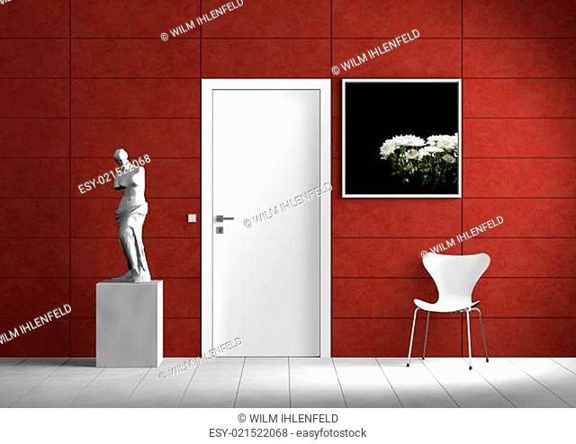 Interior mit Tür und Kunstwerken
