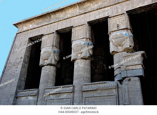 Egypt,Dendera,Ptolemaic temple of the goddess Hathor.View of external capitols from courtyard