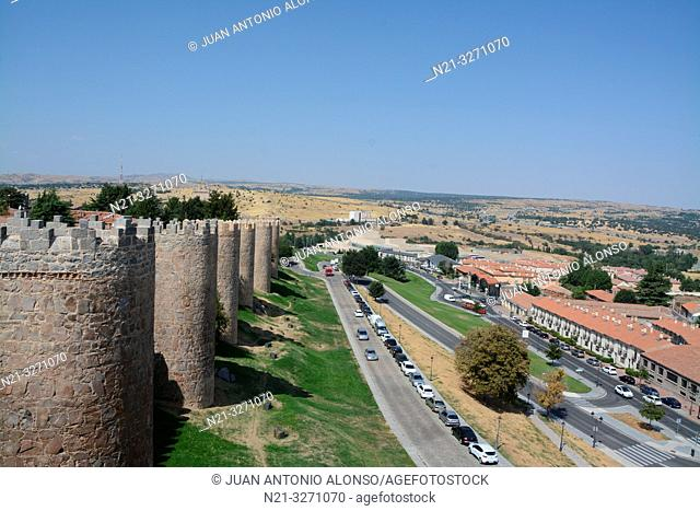 Partial view of the walls of the fortified city of Avila, Castilla-Leon, Spain, Europe