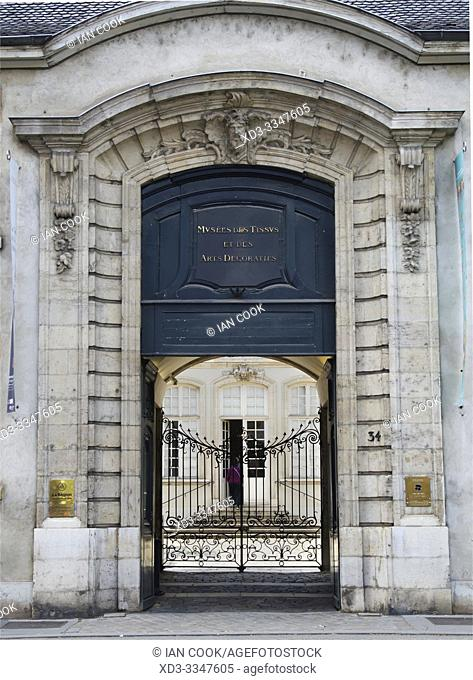 entrance to the museum of Fabric and Decorative Arts, Lyon, France