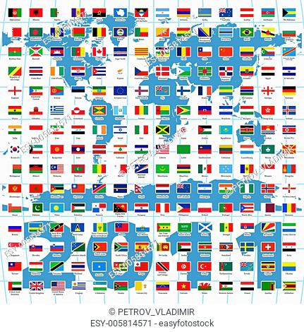 2010 Year. Complete set of Flags of the world