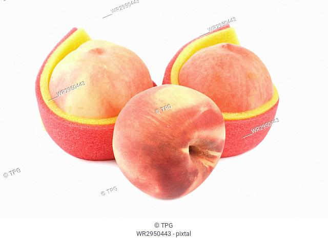 Group of juicy peach with lovely soft package