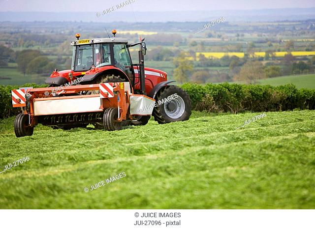 Tractor cutting silage in farm field