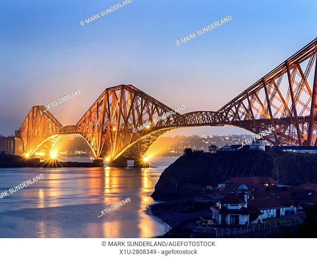 Forth Bridge at Dusk from the Fife Coast Path near North Queensferry Fife Scotland