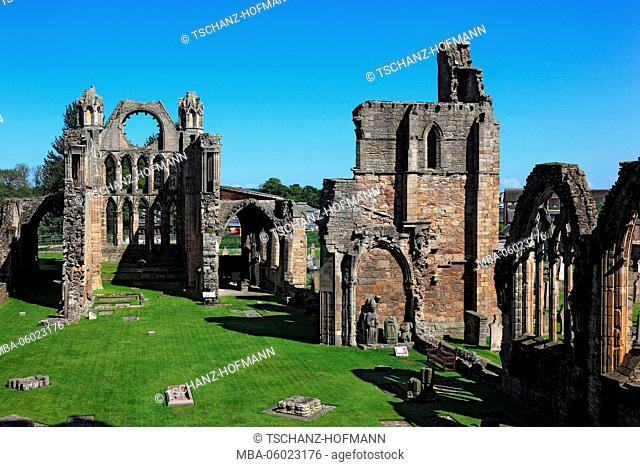 Scotland, Highland, Elgin, ruins of the cathedral, gothic transept basilica, called Light of the North