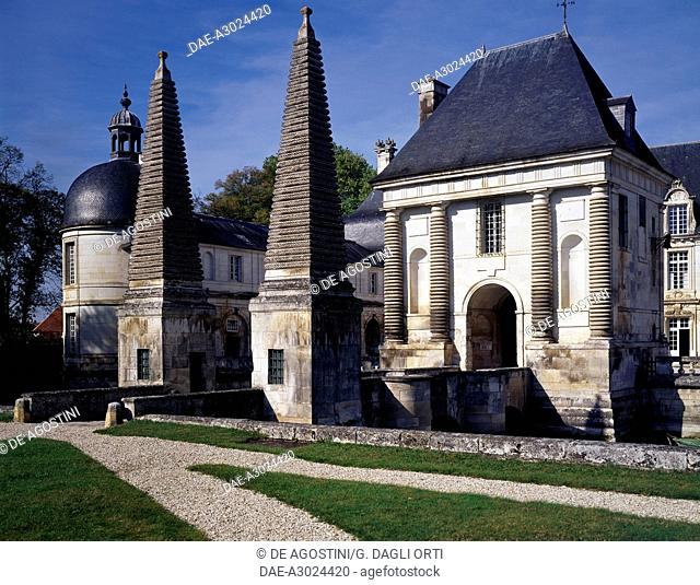 Entrance with the two obelisks, Tanlay Castle (16th-17th century), Burgundy, France